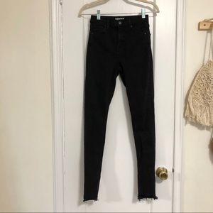 Topshop high rise black skinny jeans 26 raw
